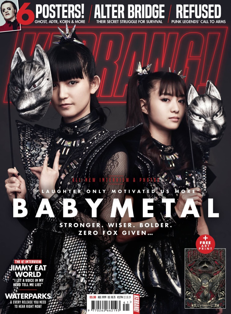 Babymetal on the cover of Kerrang! Magazine photographed by Tom Barnes in London