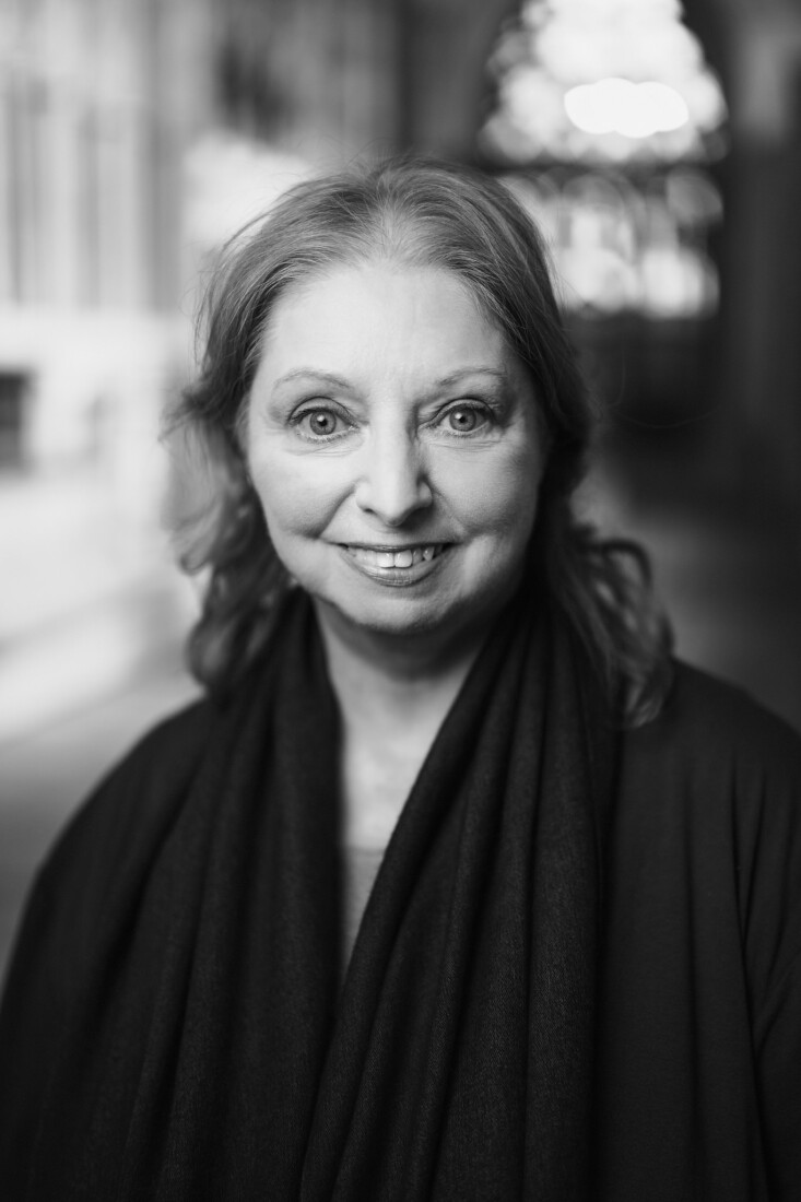 Dame Hilary Mantel photographed in Exeter Cathedral
