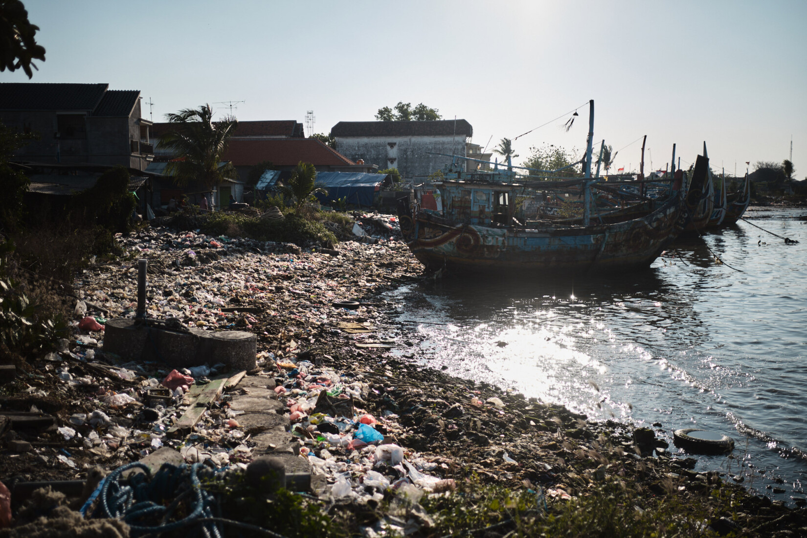 Plastic washed up in one fo the harbours in Brondong.